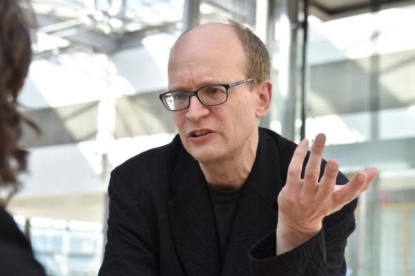 Leipzig, 26.03.2017, CCL, Keynote Andreas Platthaus (Ressortchef Literatur u. literarisches Leben bei der FAZ) im Interview mit Malu Schrader
